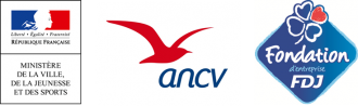 Logos des partenaires : Ministère de la Ville, de la Jeunesse et des Sports ; ANCV ; Fondation d'entreprise FDJ