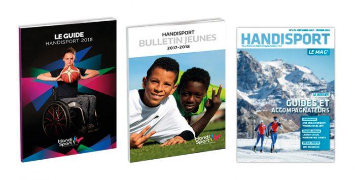 Couvertures de nos publications : Guide Handisport, Bulletin Jeunes et Handisport Le Mag
