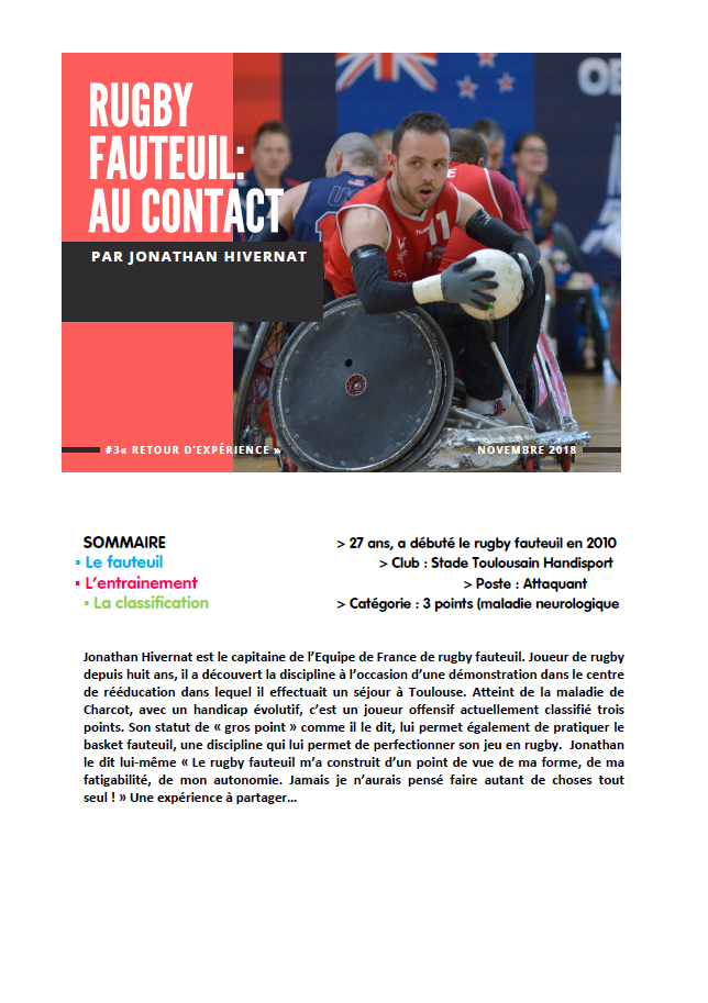 Jonathan Hivernat - Rugby fauteuil : au contact